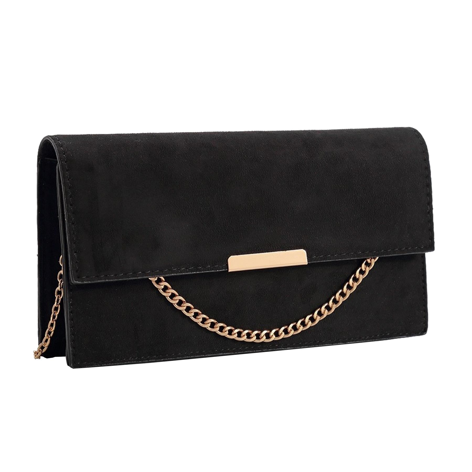 New-Synthetic-Suede-Metallic-Trim-Chain-Detail-Evening-Classic-Clutch-Bag thumbnail 3