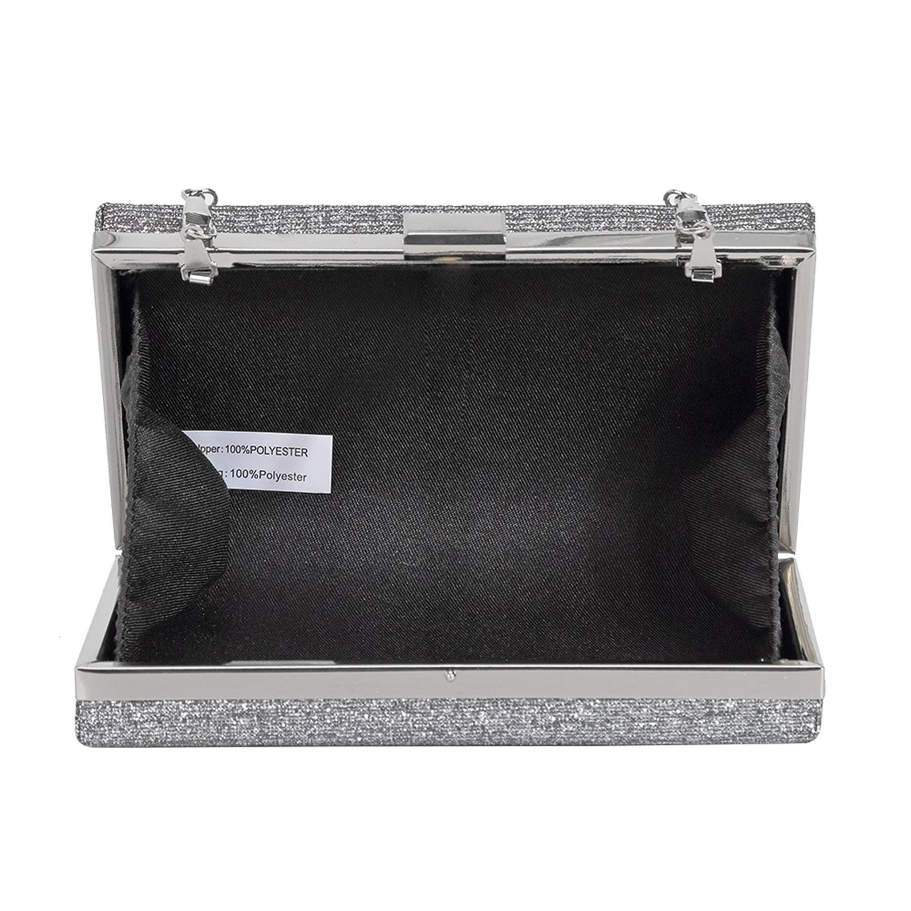 New-Sparkly-Shimmer-Glitter-Chain-Ladies-Hard-Compact-Bridal-Clutch-Bag-Purse thumbnail 10