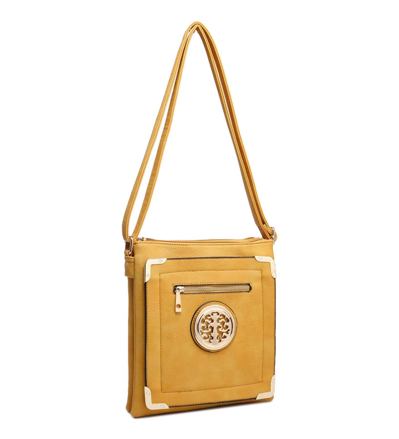 New-Casual-Ladies-Multi-Pocket-Metallic-Detail-Adjustable-Crossbody-Bag thumbnail 11