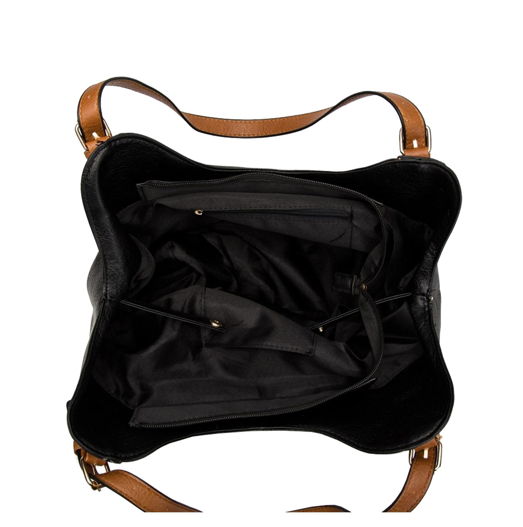 New-Ladies-Buckled-Straps-Two-Toned-Faux-Leather-Slouchy-Shoulder-Bag thumbnail 4
