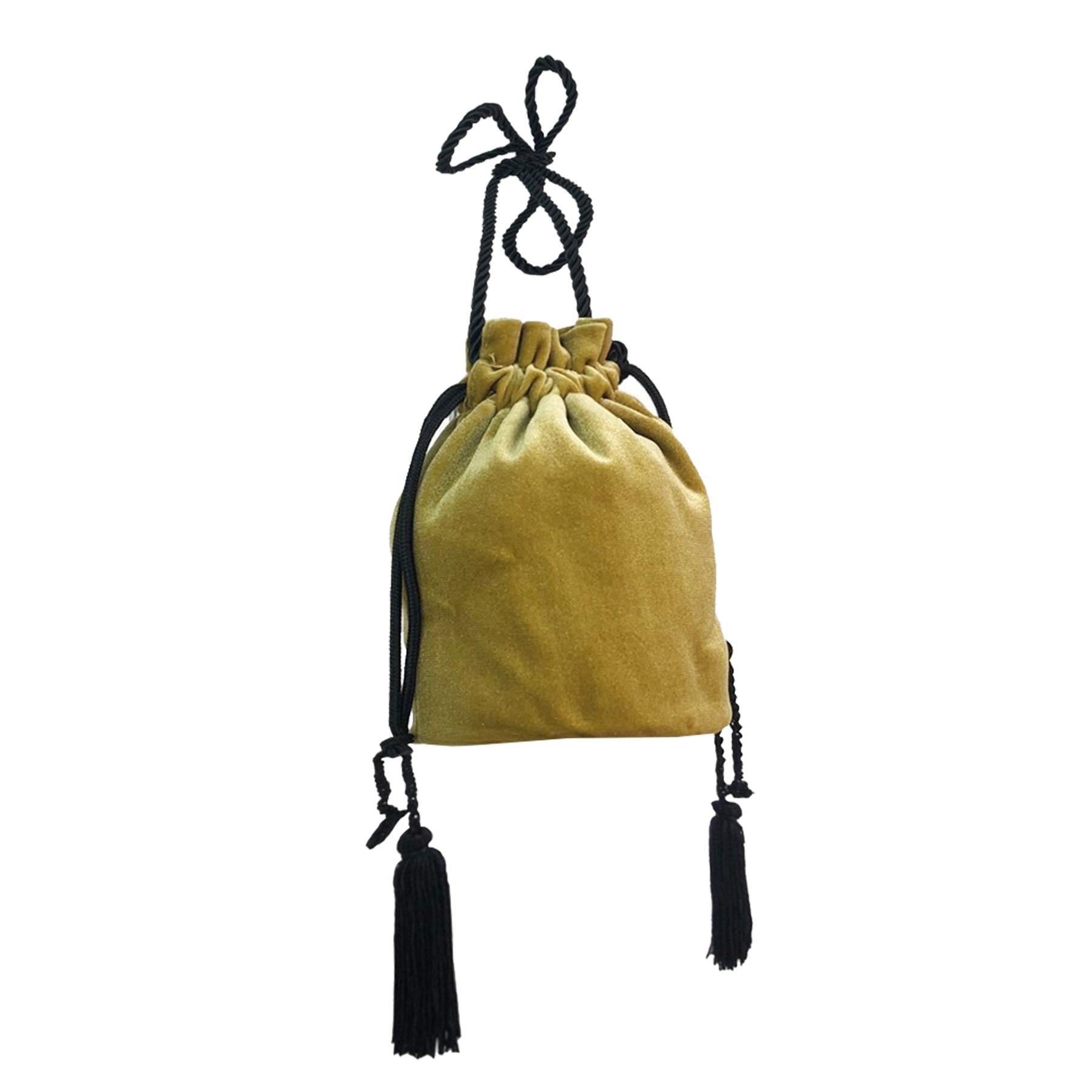 New-Women-s-Drawstring-Velvet-Velour-Tassels-Rope-Strap-Retro-Pouch-Bag thumbnail 12