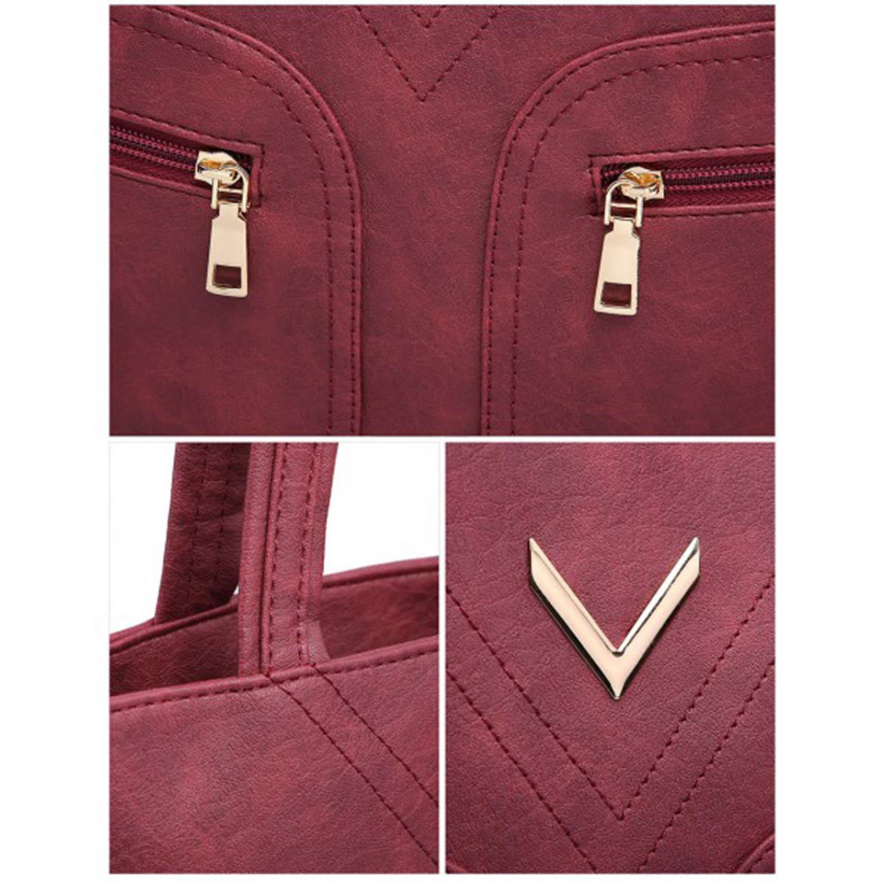 New-Ladies-Metallic-Detail-Double-Zipper-Faux-Leather-Shopper-Shoulder-Tote-Bag thumbnail 12
