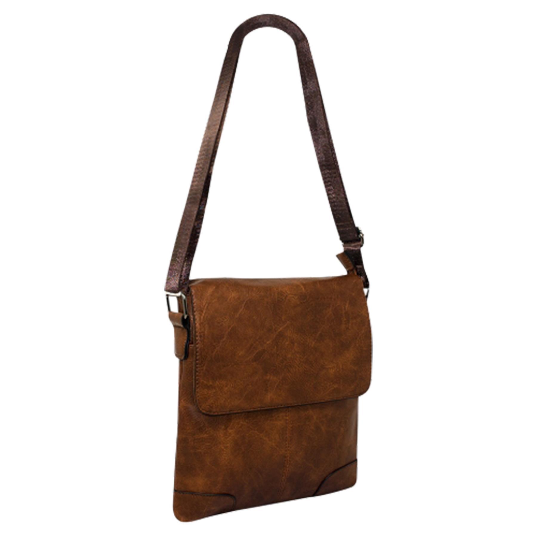 New-Plain-Faux-Leather-Men-s-Travel-Casual-Flap-Over-Messenger-Bag thumbnail 15