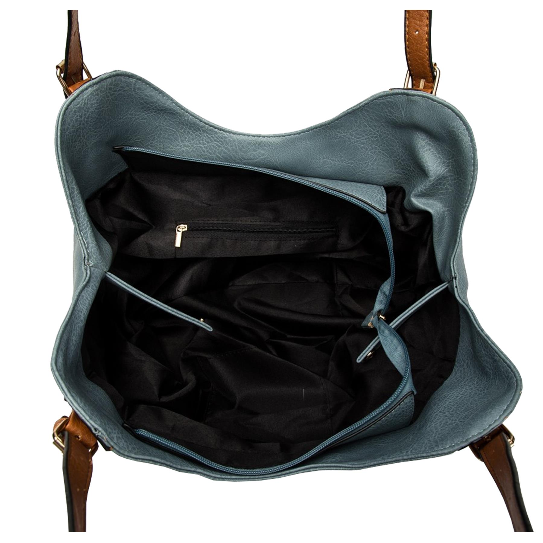 New-Ladies-Buckled-Straps-Two-Toned-Faux-Leather-Slouchy-Shoulder-Bag thumbnail 7