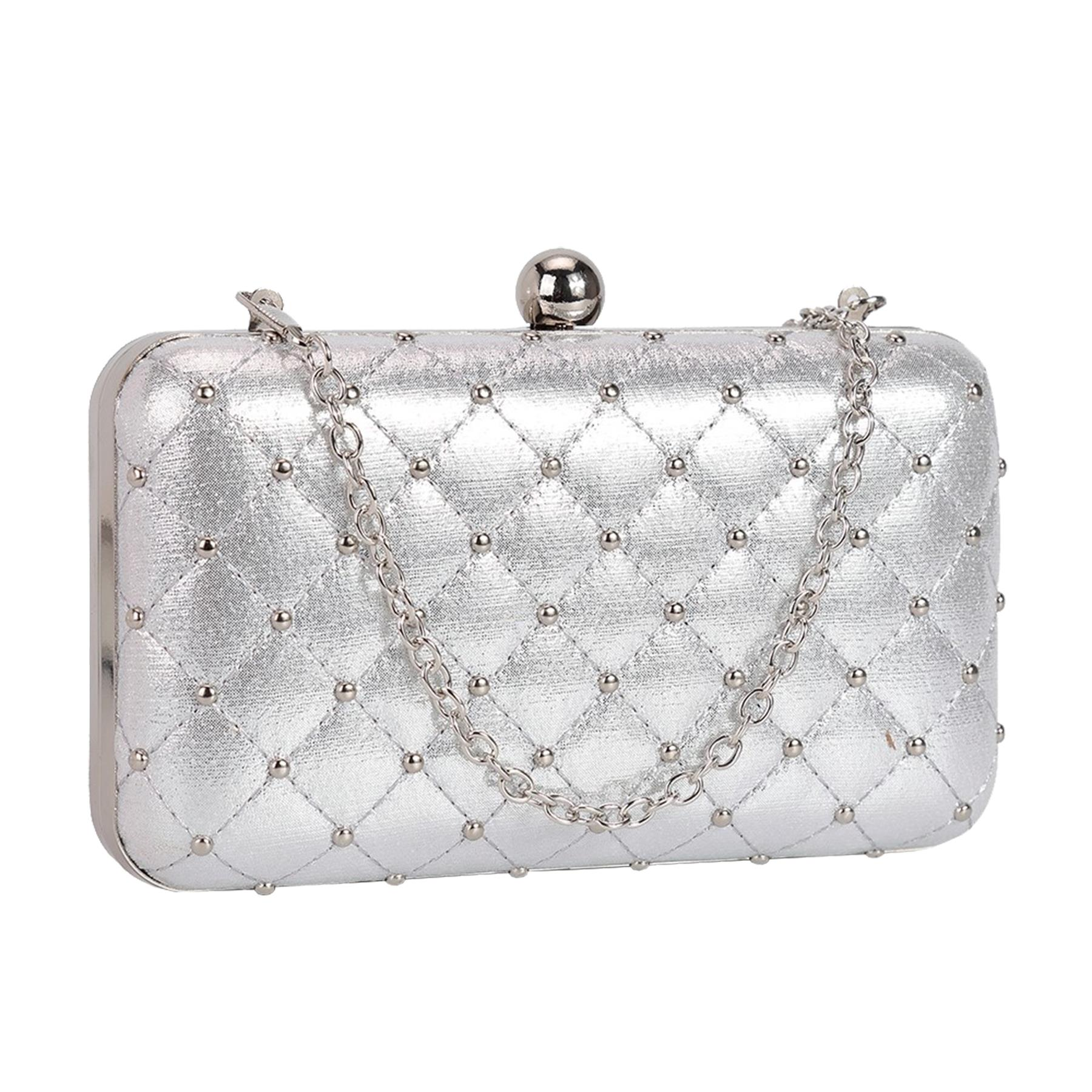 New-Women-s-Quilted-Studded-Faux-Leather-Party-Bridal-Prom-Box-Clutch-Bag thumbnail 12