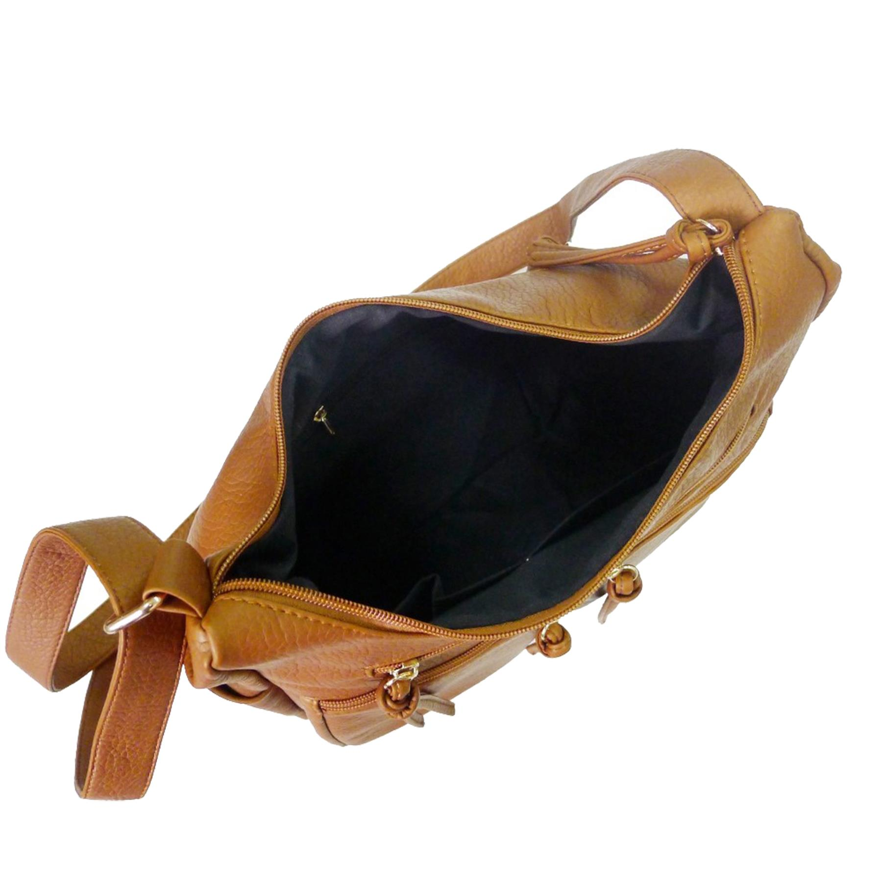 New-Unisex-Synthetic-Leather-Zip-Tassels-Multiple-Pockets-Cross-Body-Bag thumbnail 4