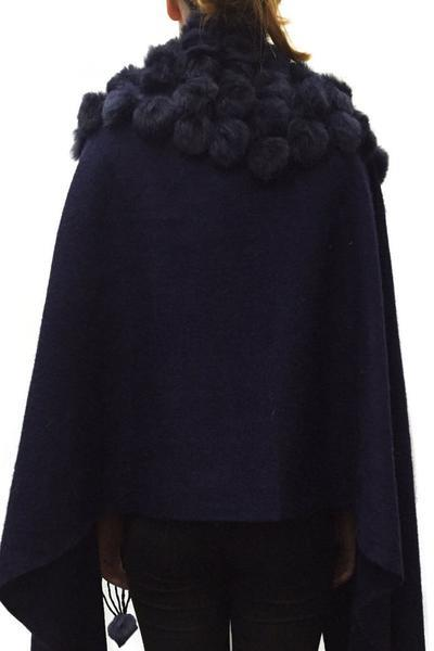 New-Women-s-Genuine-Fur-Pom-Pom-Detail-Tassels-Winter-Shawl-Cape thumbnail 22