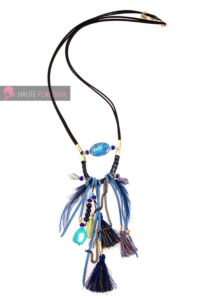 LADIES-NEW-FASHION-TRIBAL-PEBBLE-FRINGE-CHAIN-MULTICOLOUR-NECKLACE-JEWELRY