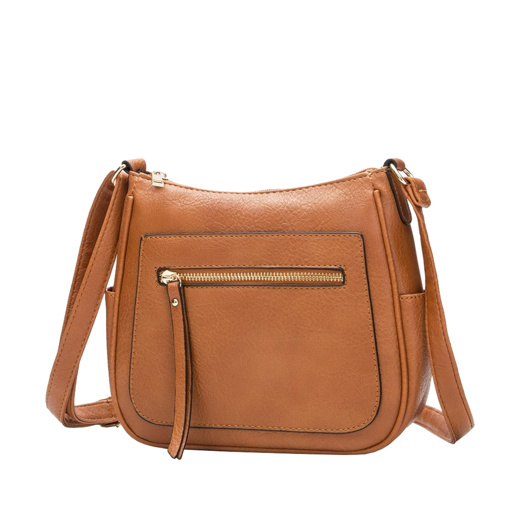 New-Women-s-Front-Zip-Faux-Leather-Basic-Small-Crossbody-Messenger-Bag thumbnail 15