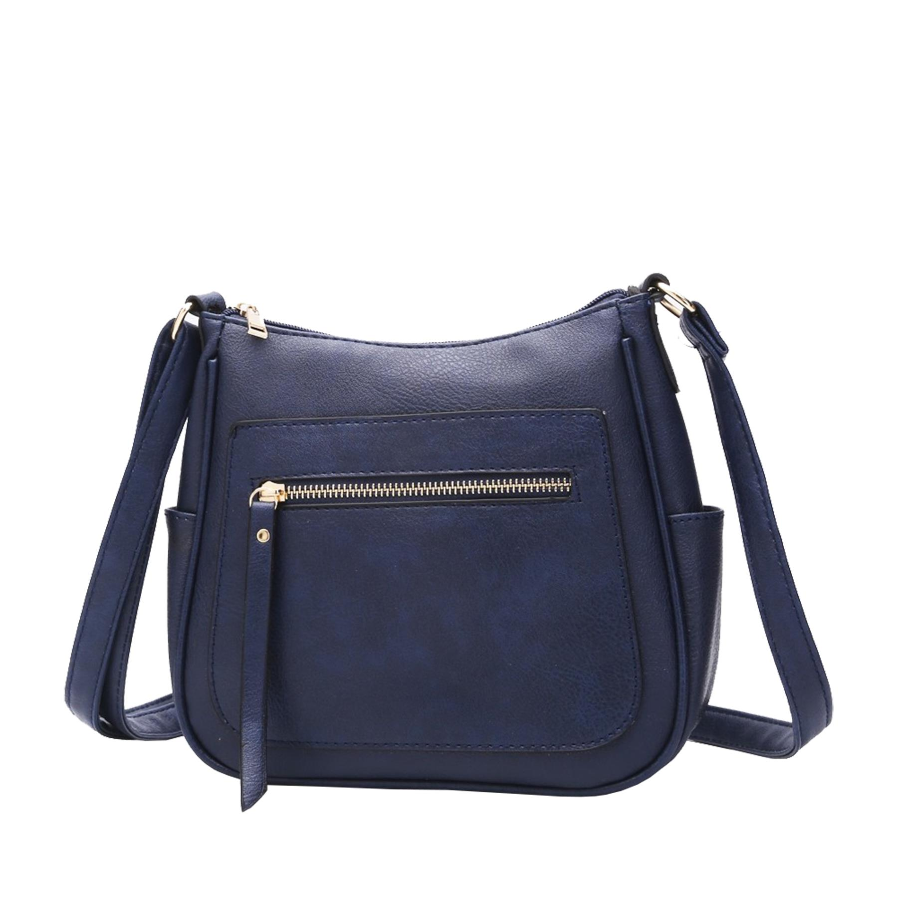 New-Women-s-Front-Zip-Faux-Leather-Basic-Small-Crossbody-Messenger-Bag thumbnail 12