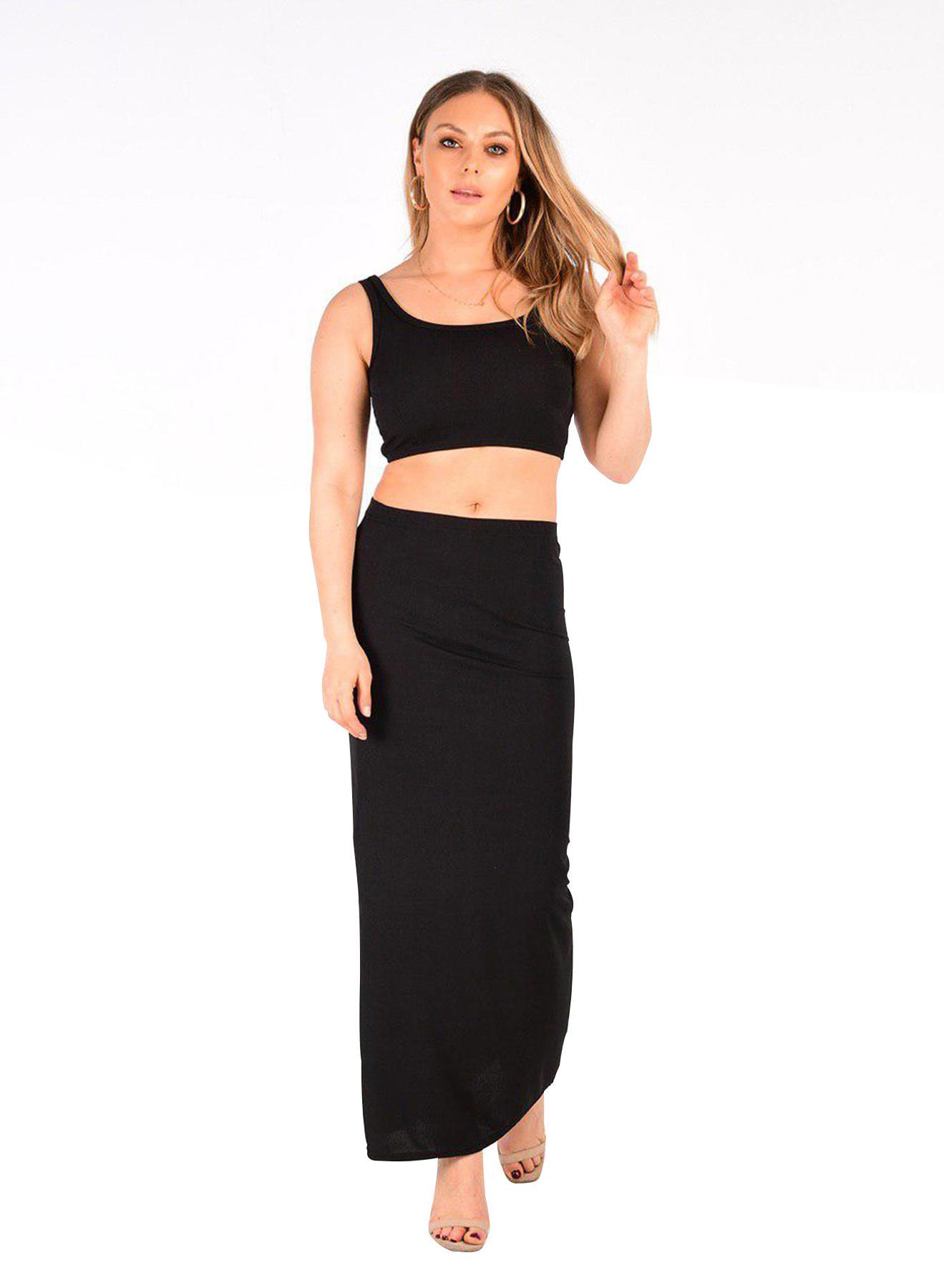 Femme Nouveau côtelé sans manches Crop Top jupe longue ensemble deux pièces UK 8-14