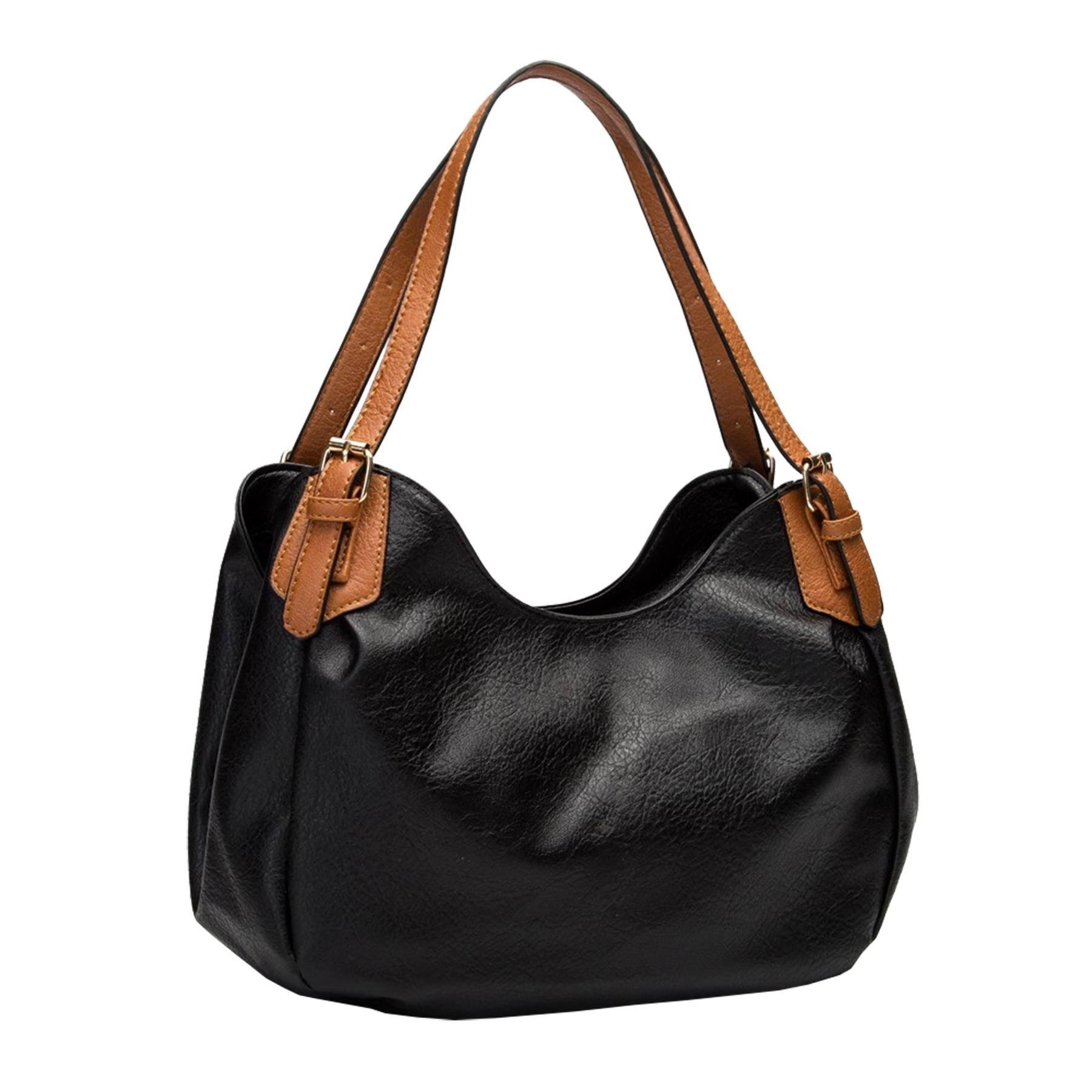 New-Ladies-Buckled-Straps-Two-Toned-Faux-Leather-Slouchy-Shoulder-Bag thumbnail 3