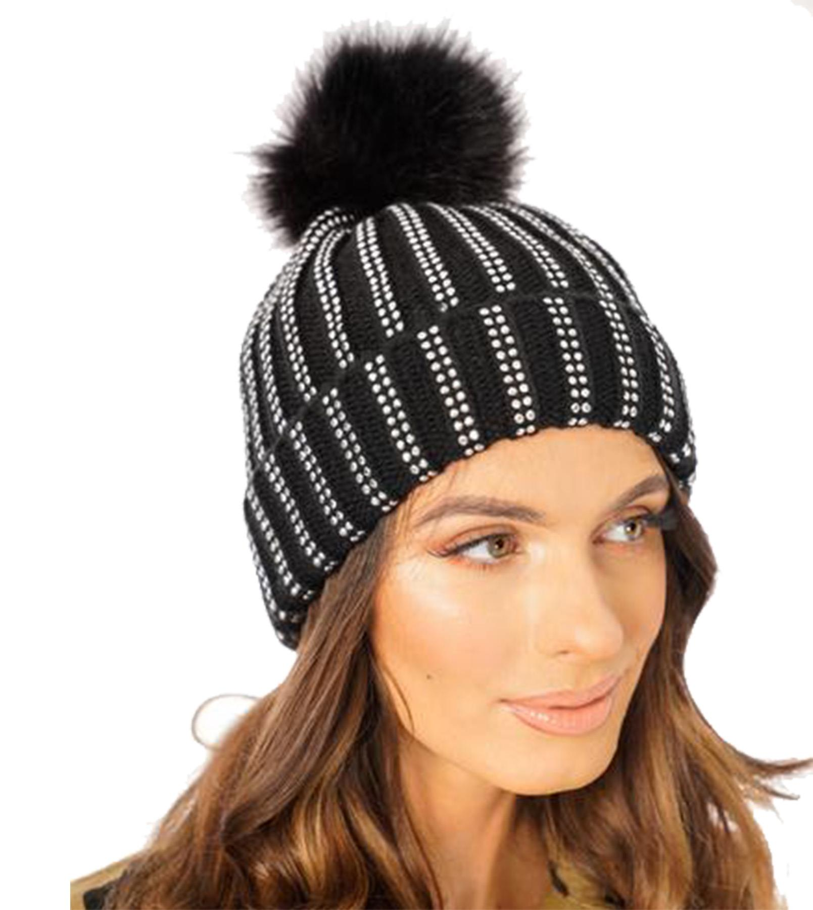 New-Rhinestone-Gem-Embellishment-Synthetic-Fur-Pom-Pom-Women-s-Beanie-Hat thumbnail 5