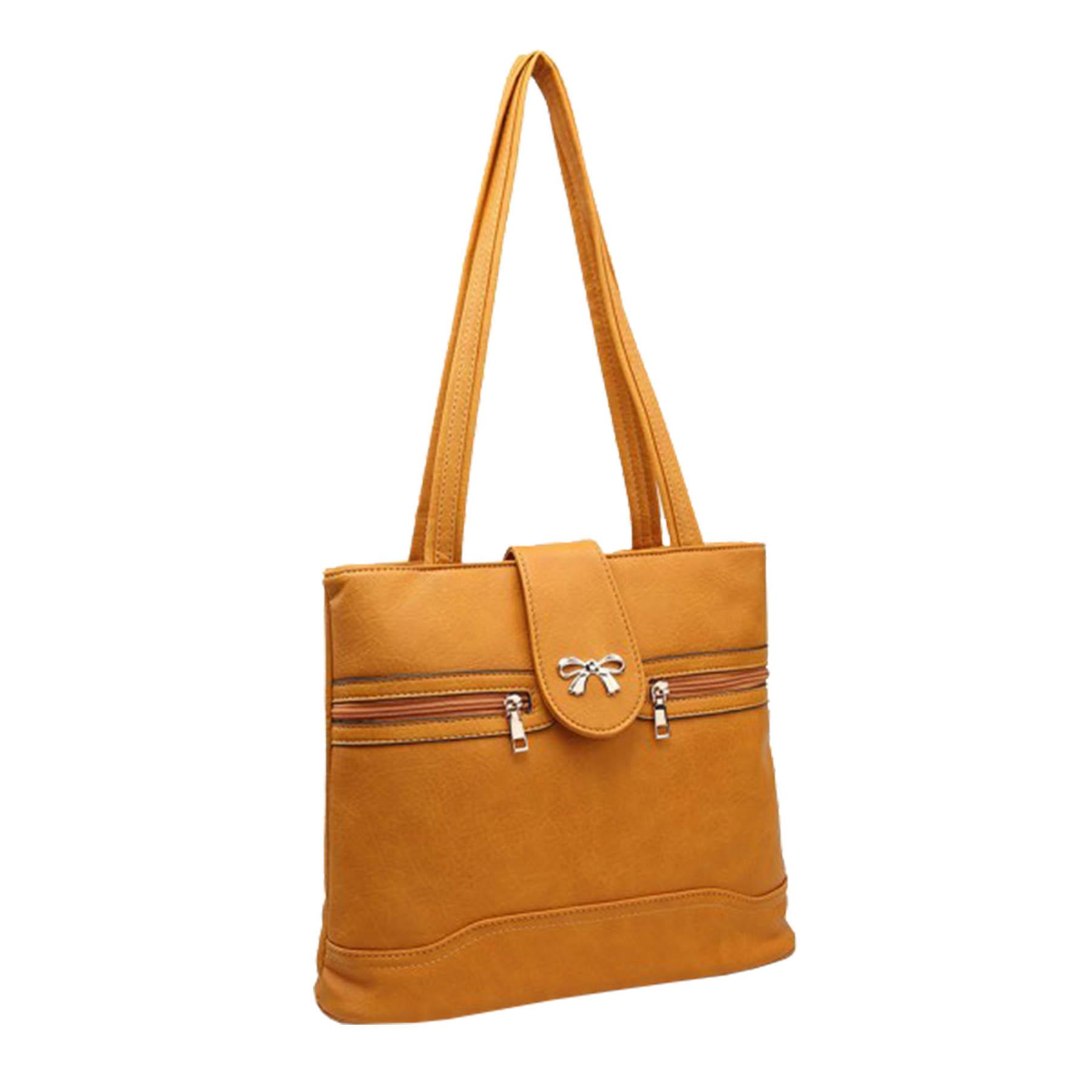 New-Women-s-Metallic-Bow-Decoration-Faux-Leather-Shopper-Shoulder-Tote-Bag thumbnail 8