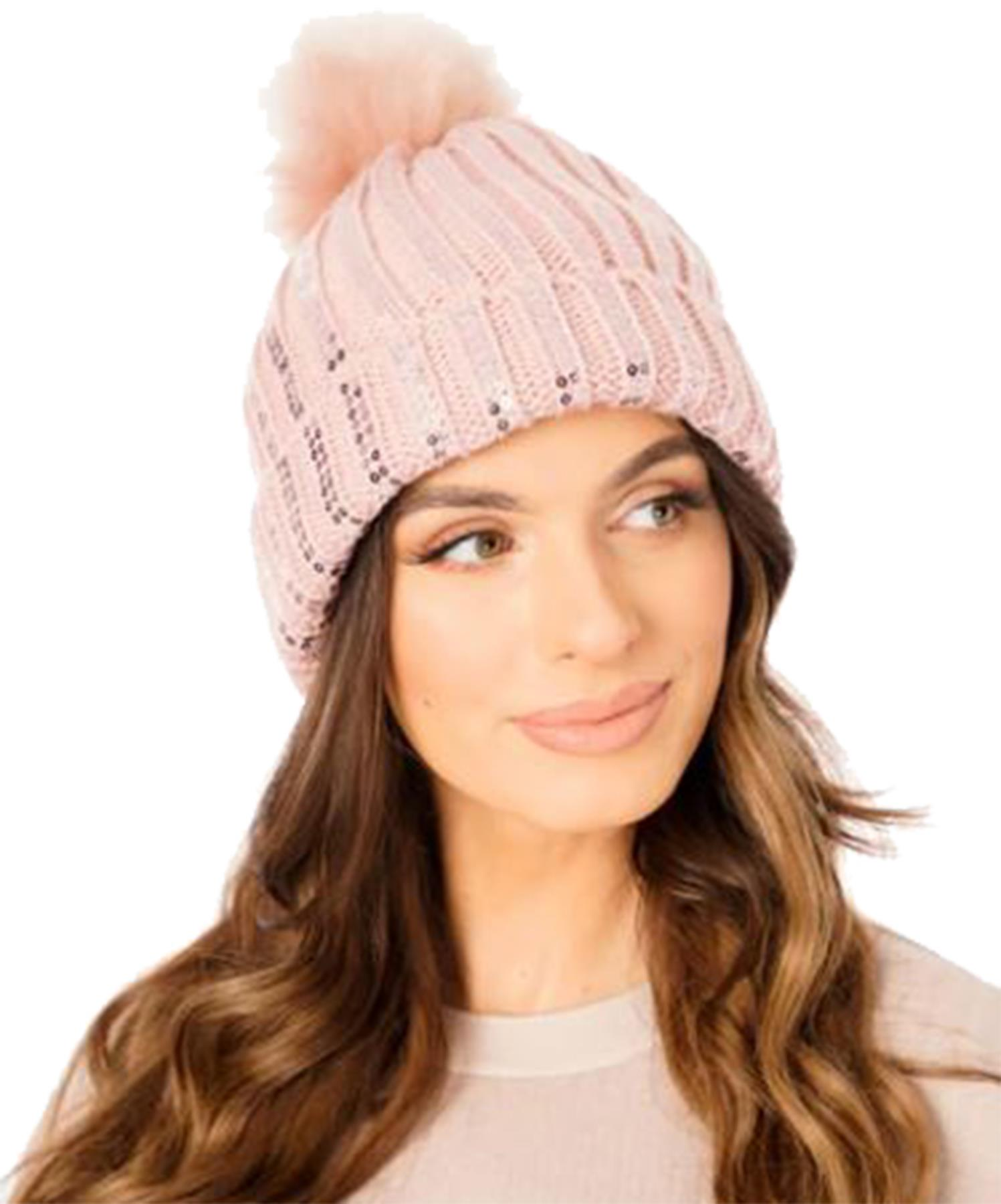 New-Ladies-Fleece-Lining-Sequins-Faux-Fur-Pom-Pom-Winter-Beanie-Hat thumbnail 11