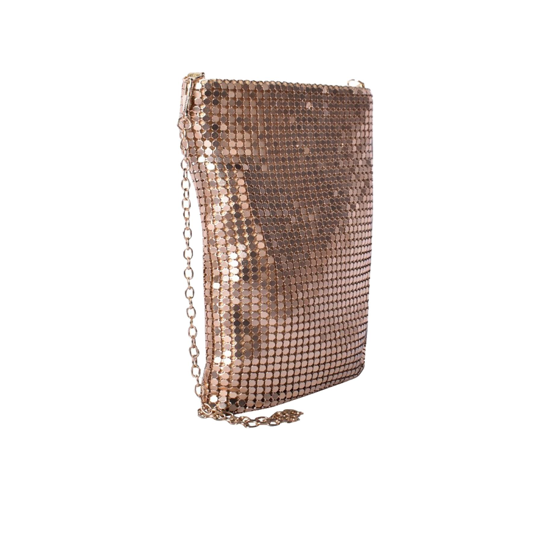 New-Ladies-Chainmail-Faux-Leather-Chain-Strap-Wedding-Clutch-Bag-Pouch thumbnail 15