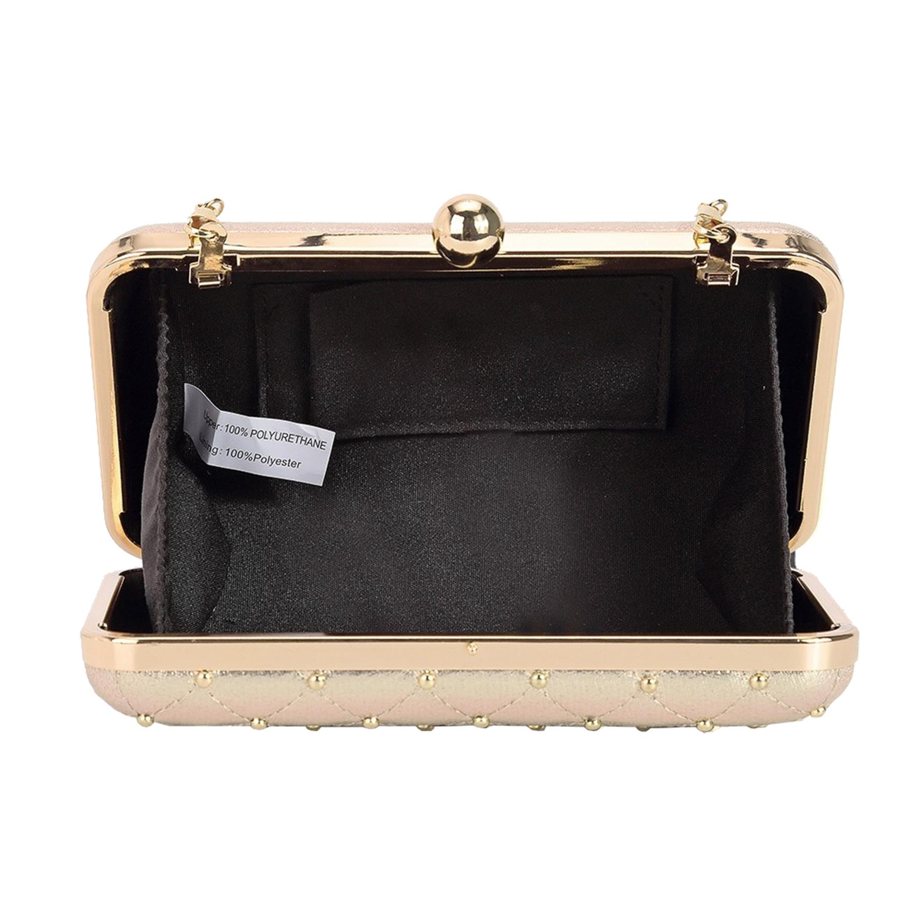New-Women-s-Quilted-Studded-Faux-Leather-Party-Bridal-Prom-Box-Clutch-Bag thumbnail 7