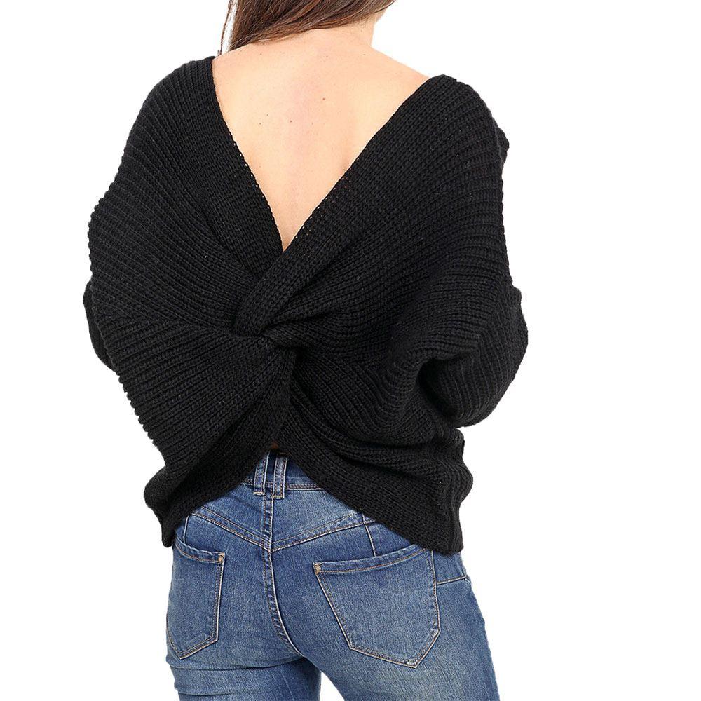 new front back twist knot cable knit long sleeve jumper uk 8 14 ebay. Black Bedroom Furniture Sets. Home Design Ideas