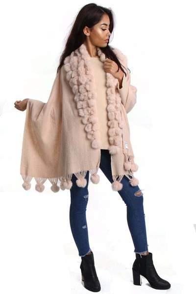 New-Women-s-Genuine-Fur-Pom-Pom-Detail-Tassels-Winter-Shawl-Cape thumbnail 18