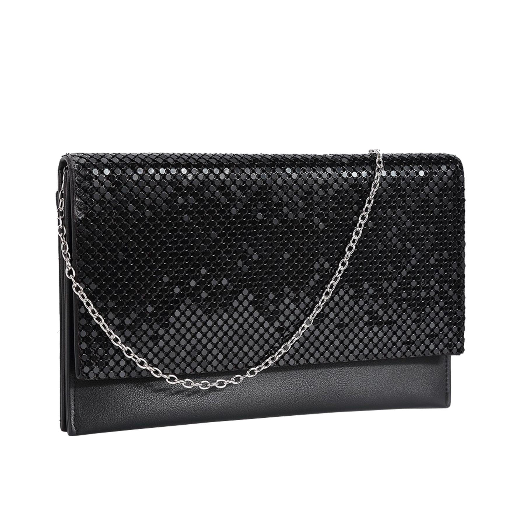New-Ladies-Chainmail-Faux-Leather-Chain-Strap-Wedding-Clutch-Bag-Pouch thumbnail 3