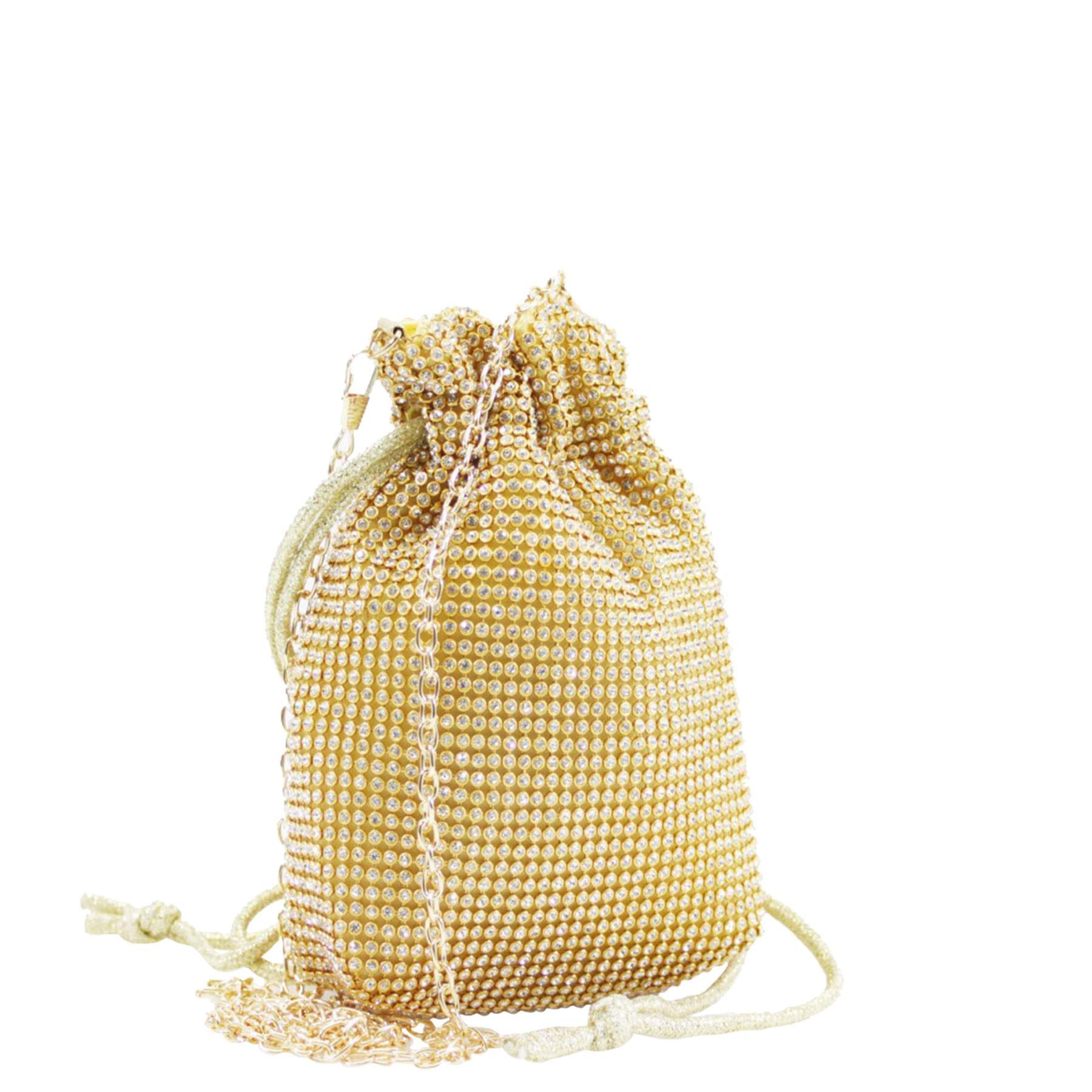 New-Ladies-Rhinestone-Diamante-Drawstring-Chain-Strap-Pouch-Bag thumbnail 4