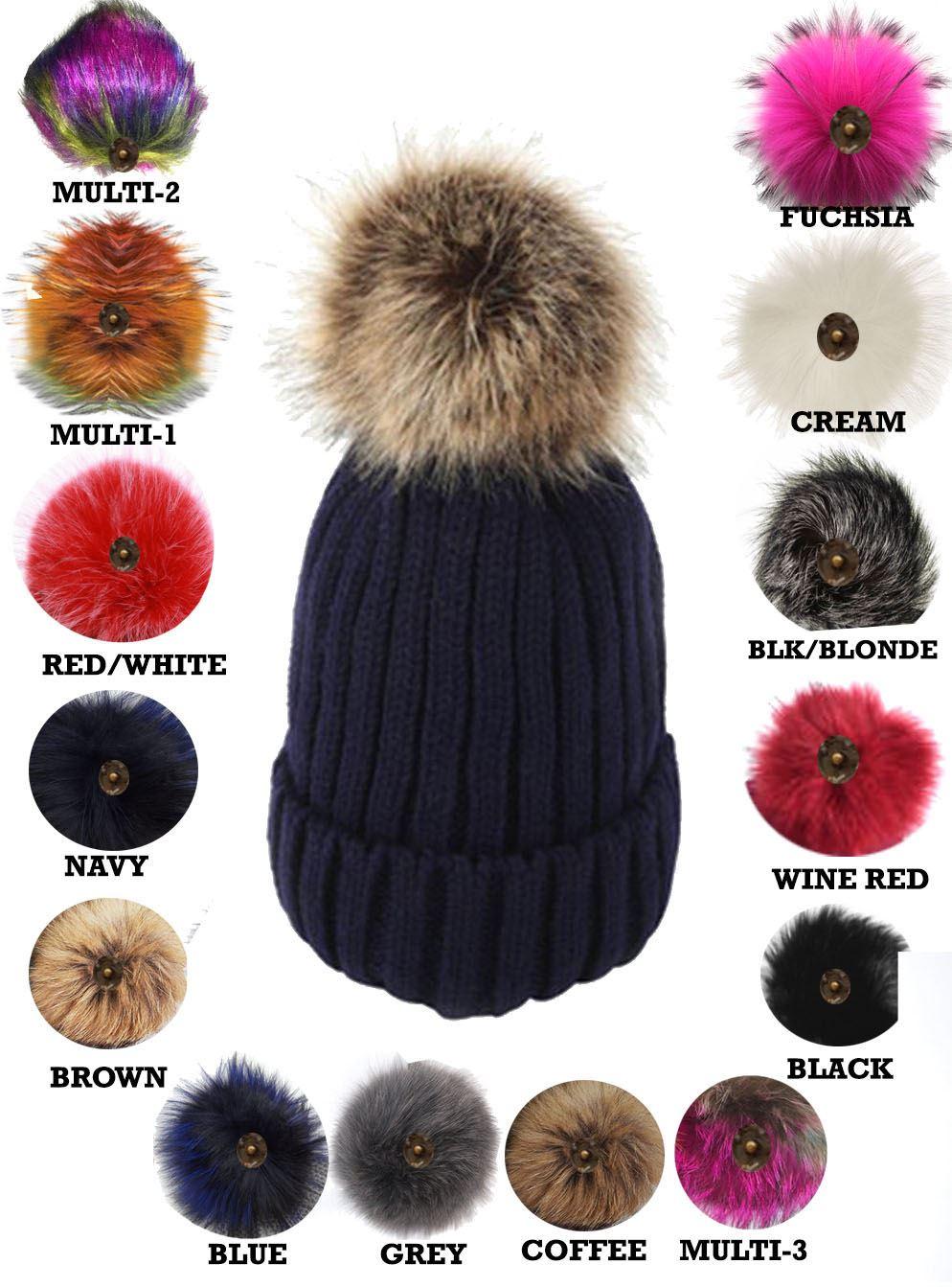 ab3f7471312 New Ladies Knitted Detachable Faux Fur Pom Pom Customizable Bobble ...