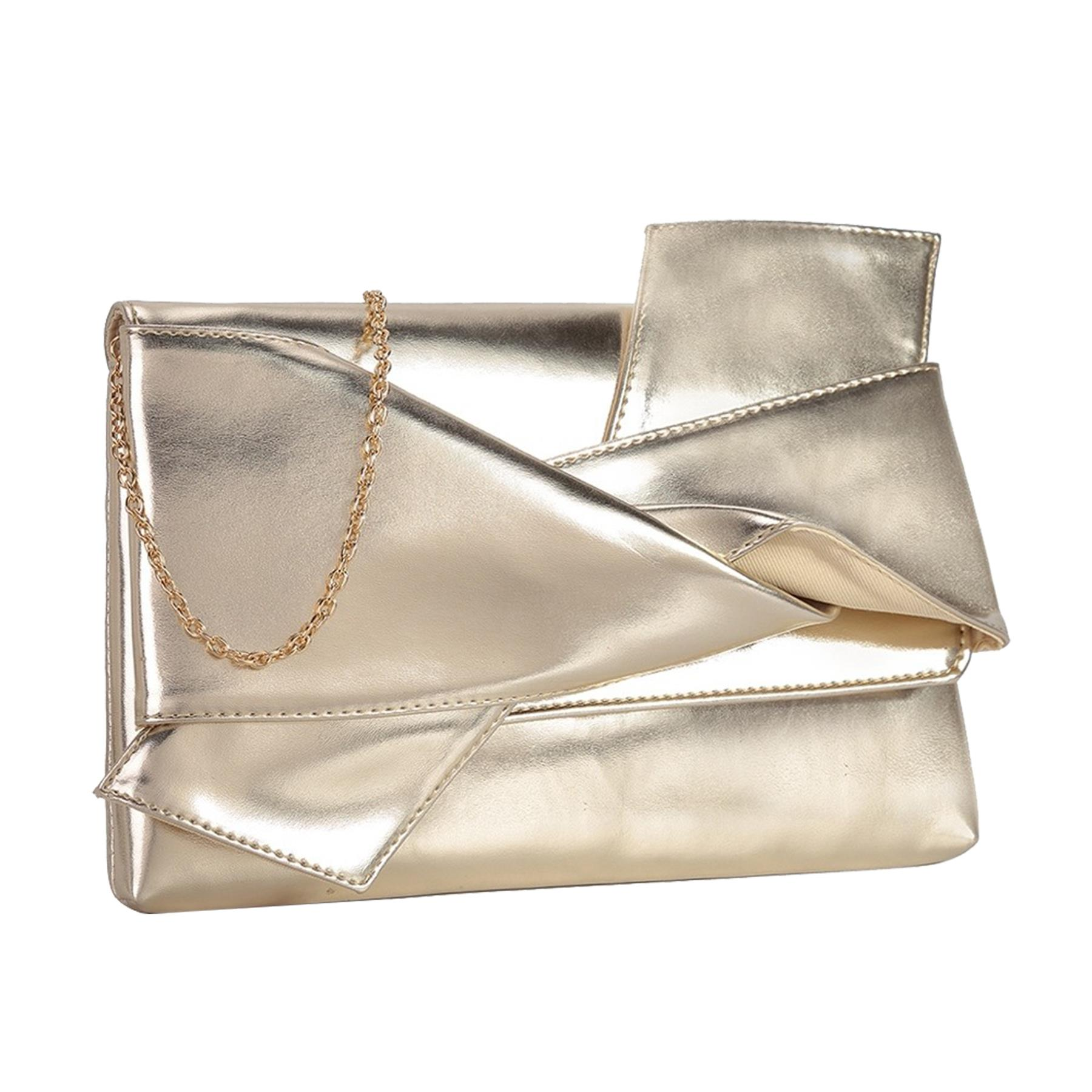 New-Knot-Detail-Shiny-Synthetic-Leather-Ladies-Party-Clutch-Bag-Purse thumbnail 9