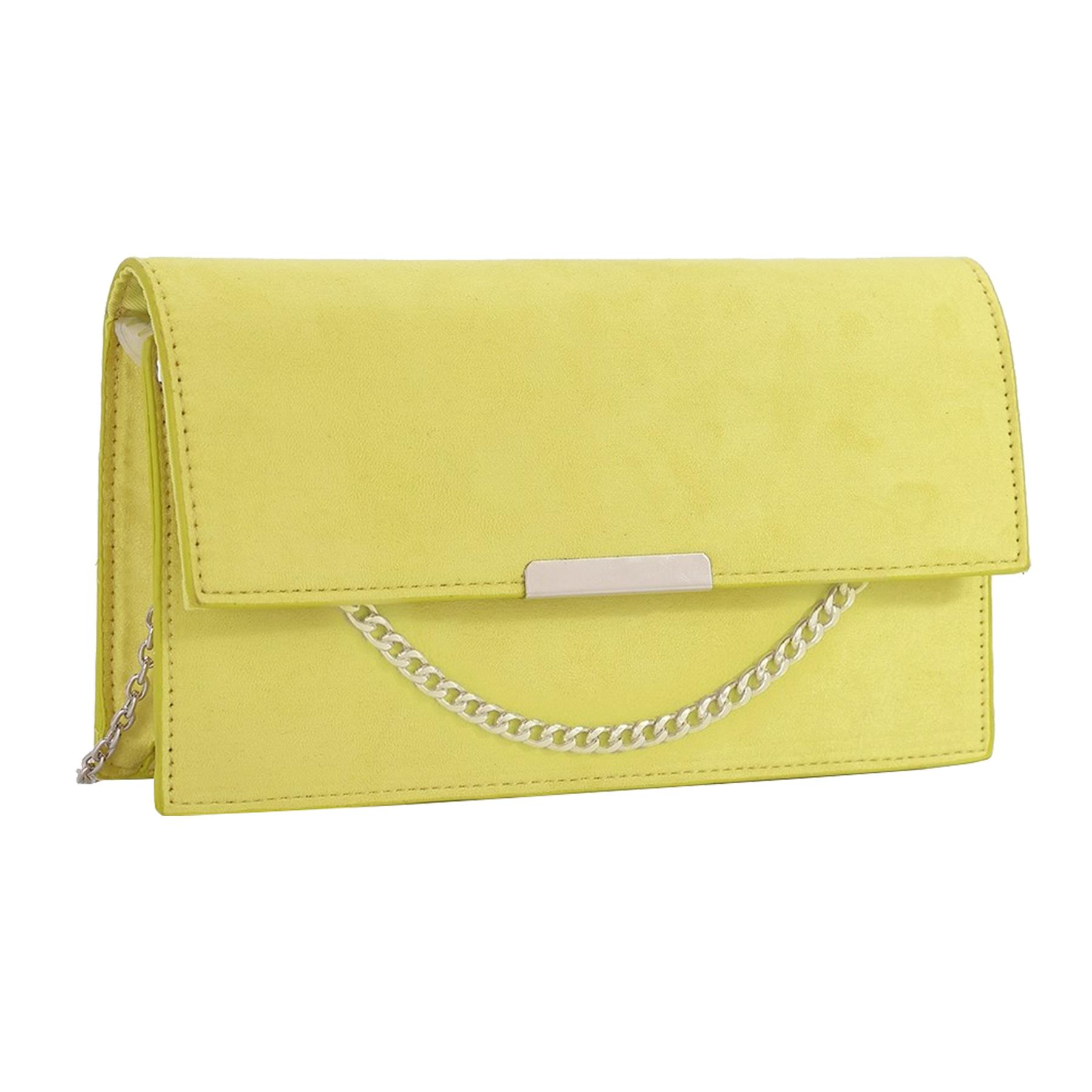 New-Synthetic-Suede-Metallic-Trim-Chain-Detail-Evening-Classic-Clutch-Bag thumbnail 15