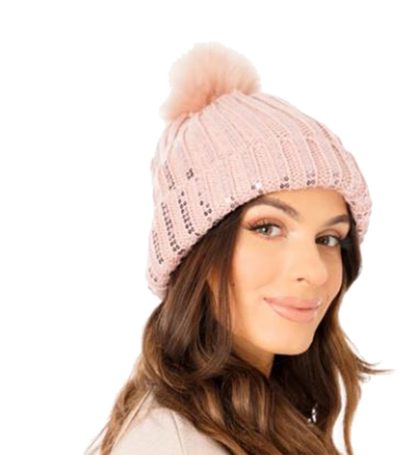 New-Ladies-Fleece-Lining-Sequins-Faux-Fur-Pom-Pom-Winter-Beanie-Hat thumbnail 9