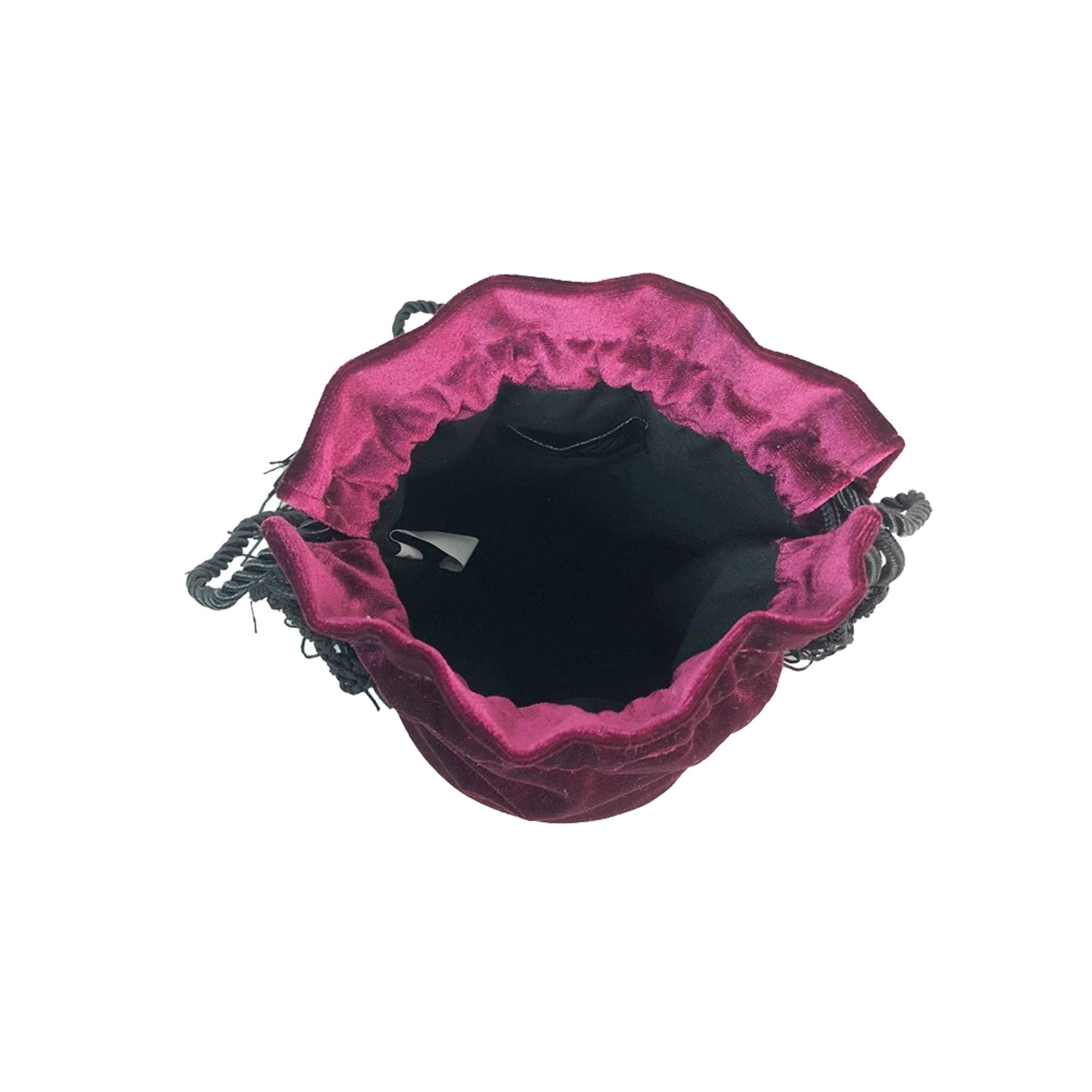 New-Women-s-Drawstring-Velvet-Velour-Tassels-Rope-Strap-Retro-Pouch-Bag thumbnail 10