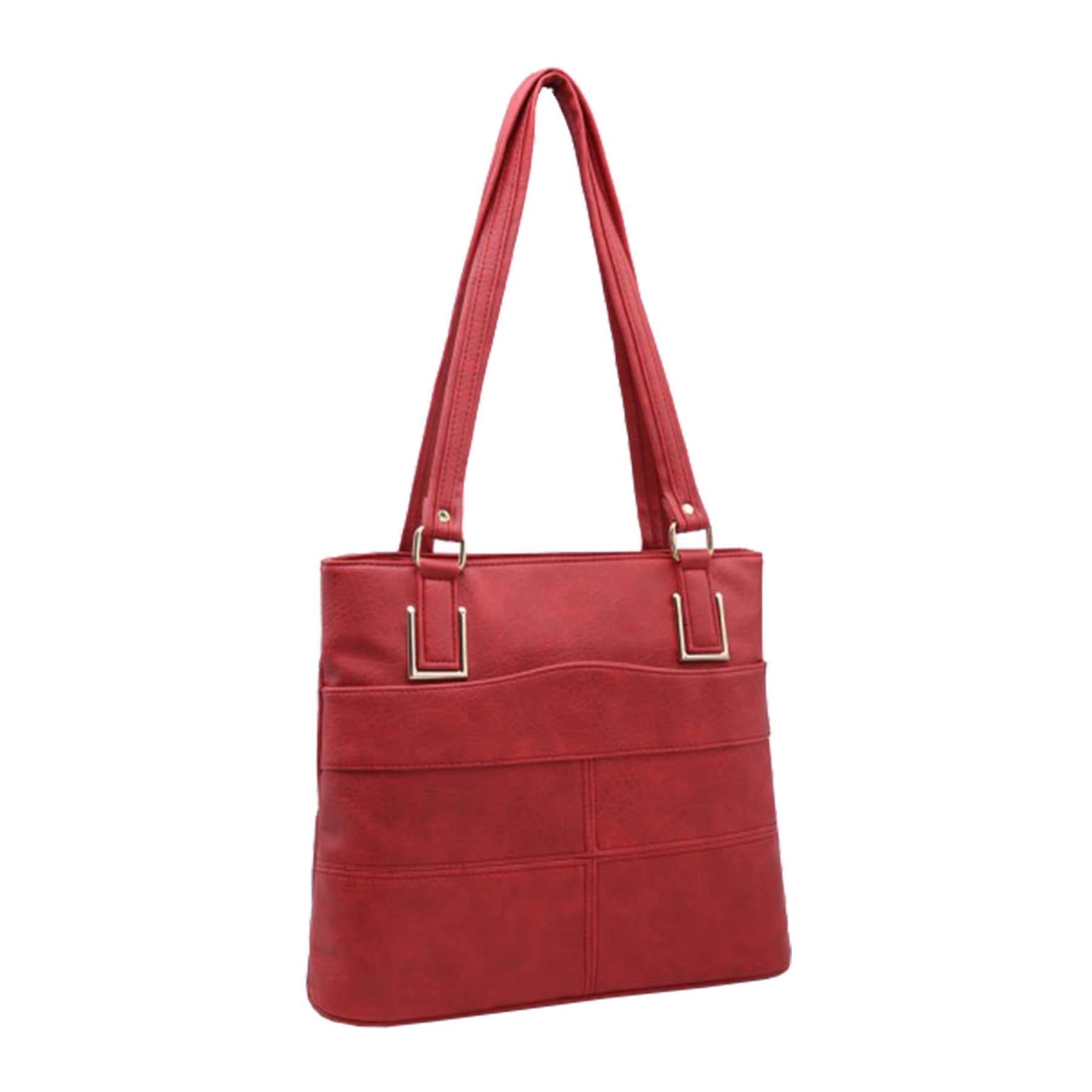 New-Panel-Design-Synthetic-Leather-Simple-Shoulder-Shopper-Tote-Bag thumbnail 10