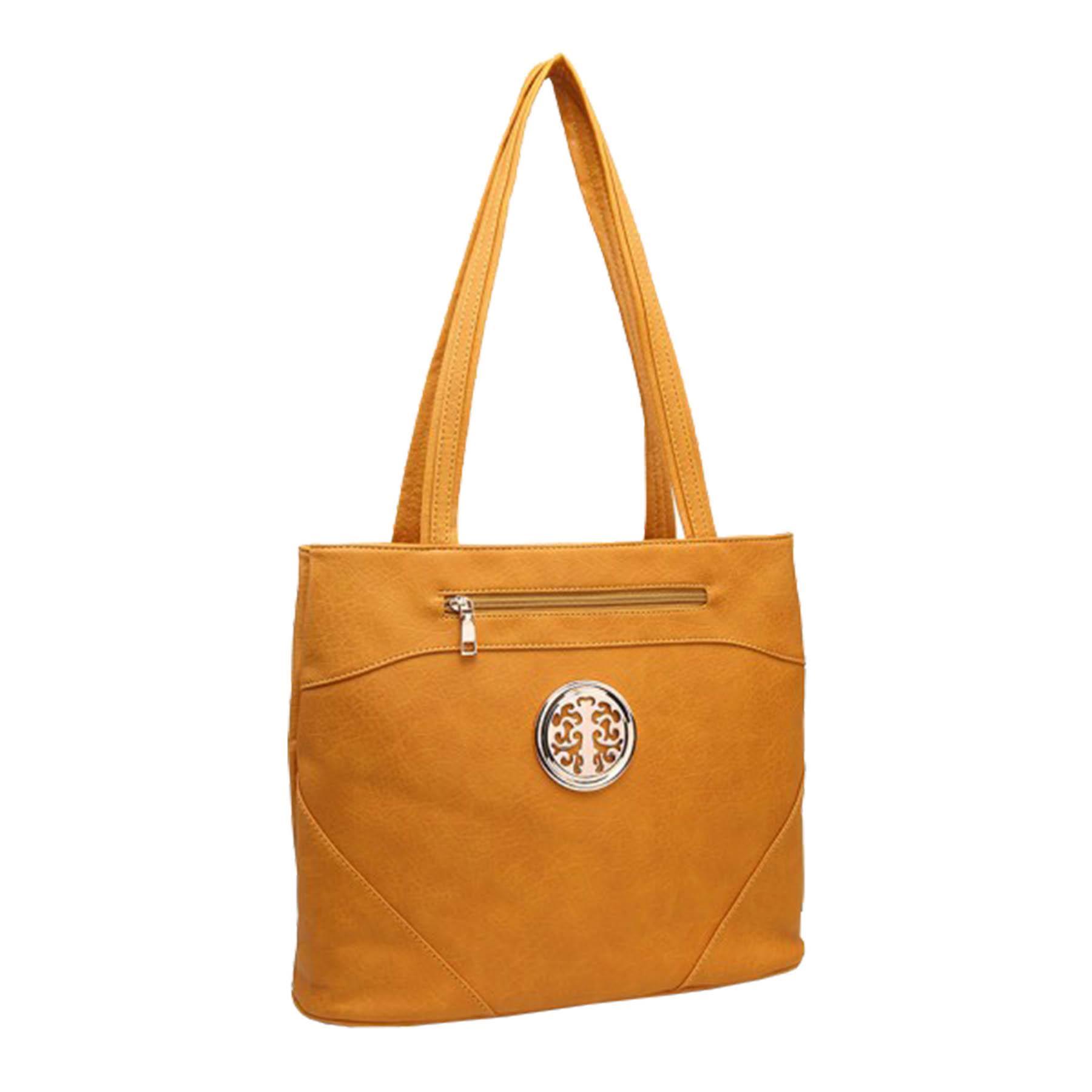 New-Casual-Ladies-Work-Double-Compartment-Metallic-Detail-Shoulder-Bag thumbnail 8
