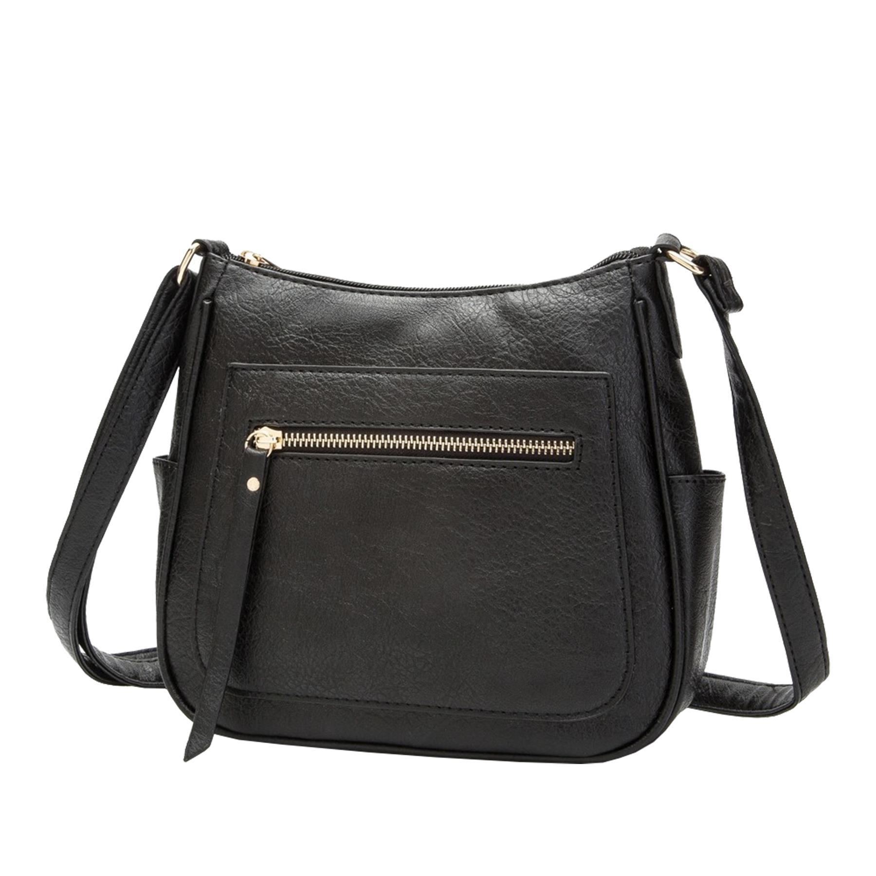 New-Women-s-Front-Zip-Faux-Leather-Basic-Small-Crossbody-Messenger-Bag thumbnail 3