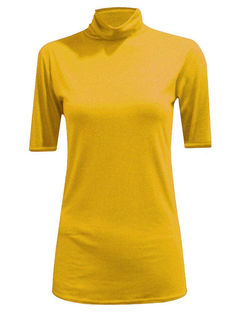 New-Women-s-Half-Sleeve-Plain-Polo-Roll-Neck-Top-Blouse-UK-8-26 thumbnail 13
