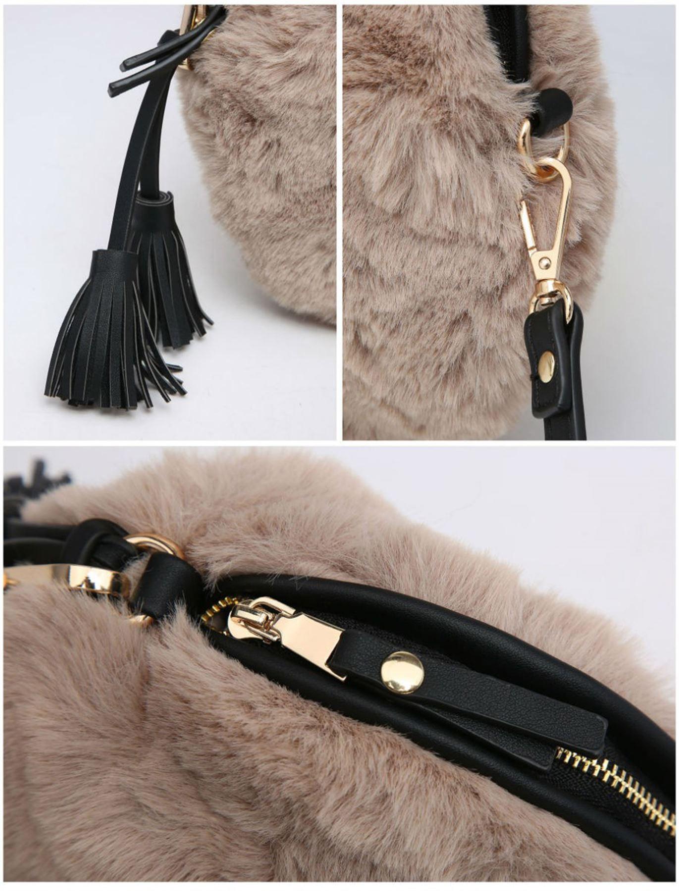 New Round Shape Faux Fur Tassel Women s Trendy Fluffy Crossbody Bag ... f687cc9aa9370