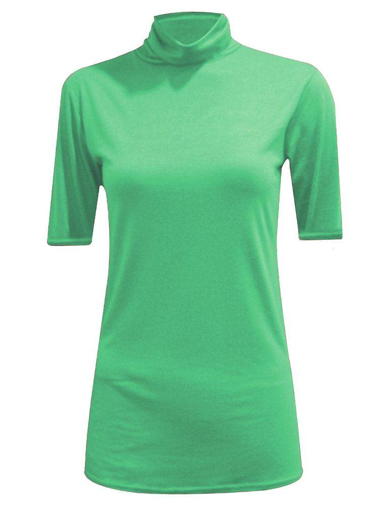 New-Women-s-Half-Sleeve-Plain-Polo-Roll-Neck-Top-Blouse-UK-8-26 thumbnail 9