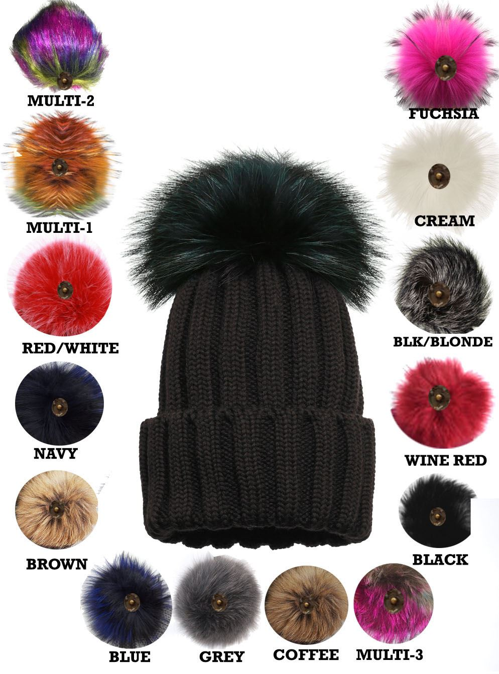 WOMEN-S-WINTER-WARM-BOBBLE-BEANIE-KNITTED-CUSTOMIZABLE-FAUX-FUR-POM-POM-SKI-HAT