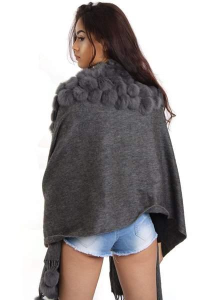 New-Women-s-Genuine-Fur-Pom-Pom-Detail-Tassels-Winter-Shawl-Cape thumbnail 14