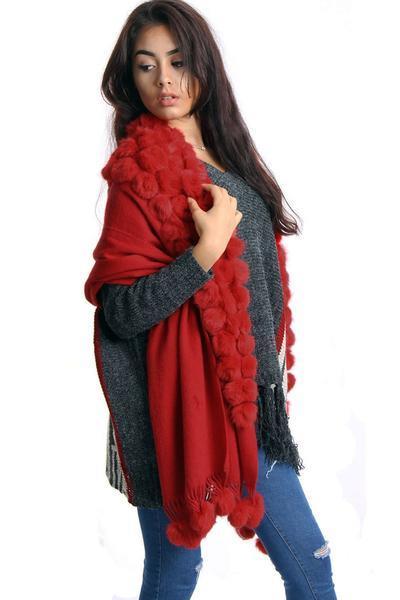 New-Women-s-Genuine-Fur-Pom-Pom-Detail-Tassels-Winter-Shawl-Cape thumbnail 26