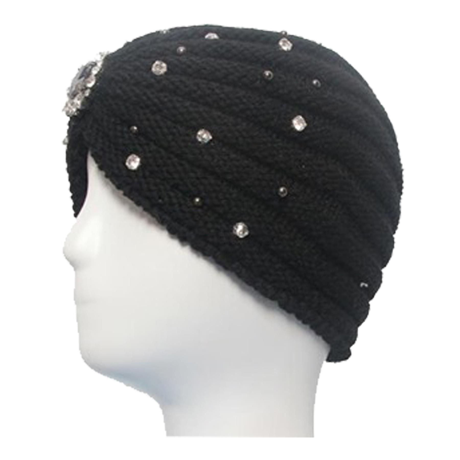 New-Women-s-Pleated-Knitted-Acrylic-Jewel-Detail-Headwear-Turban-Cap thumbnail 15