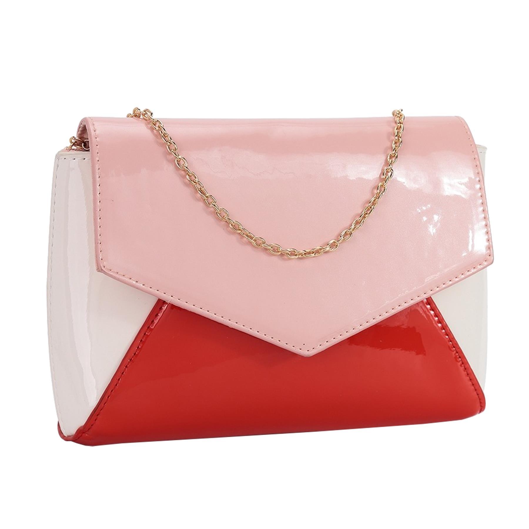 New-Women-s-Faux-Leather-Patent-Multicolour-Envelope-Clutch-Bag-Purse thumbnail 6