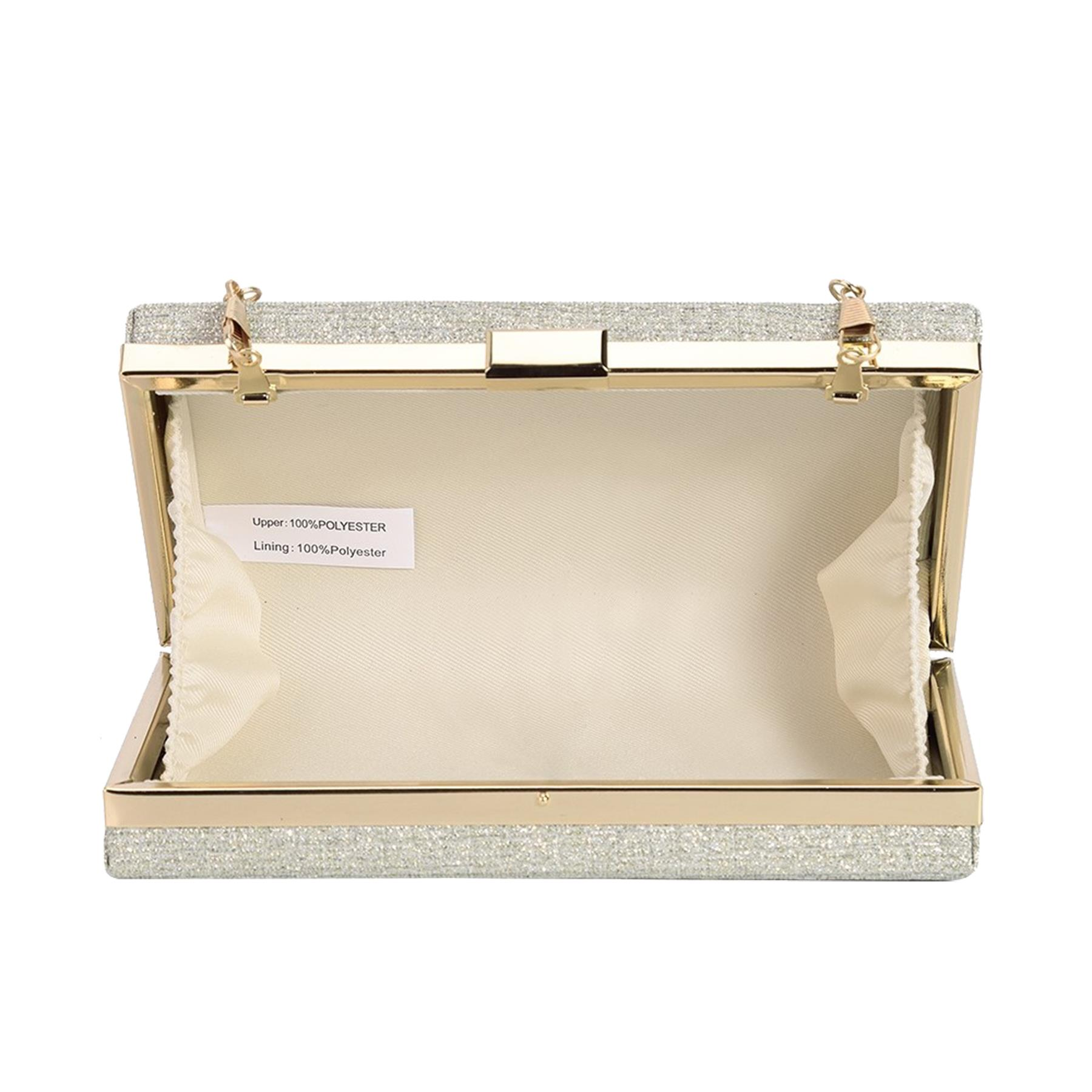 New-Sparkly-Shimmer-Glitter-Chain-Ladies-Hard-Compact-Bridal-Clutch-Bag-Purse thumbnail 7