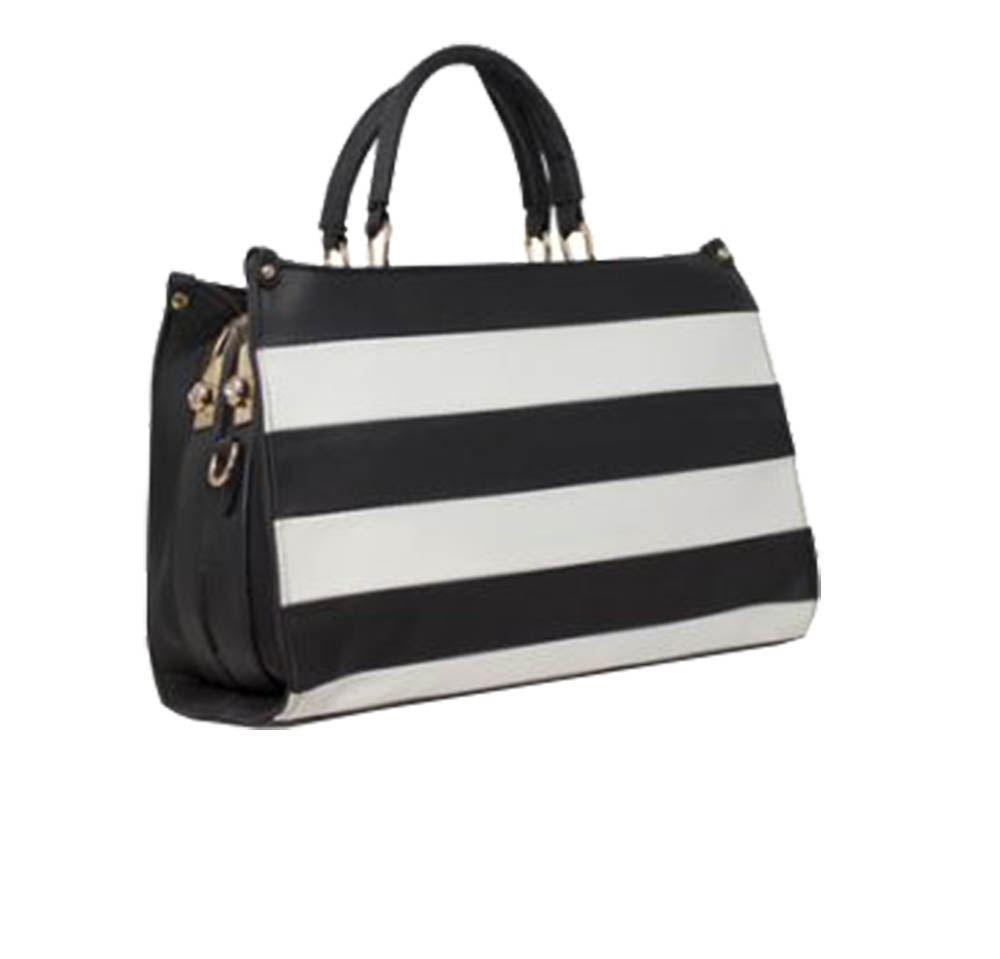 Elegante Design New Negro mano Leather bolso Ladies de Stripe marr Faux qwIraXZI