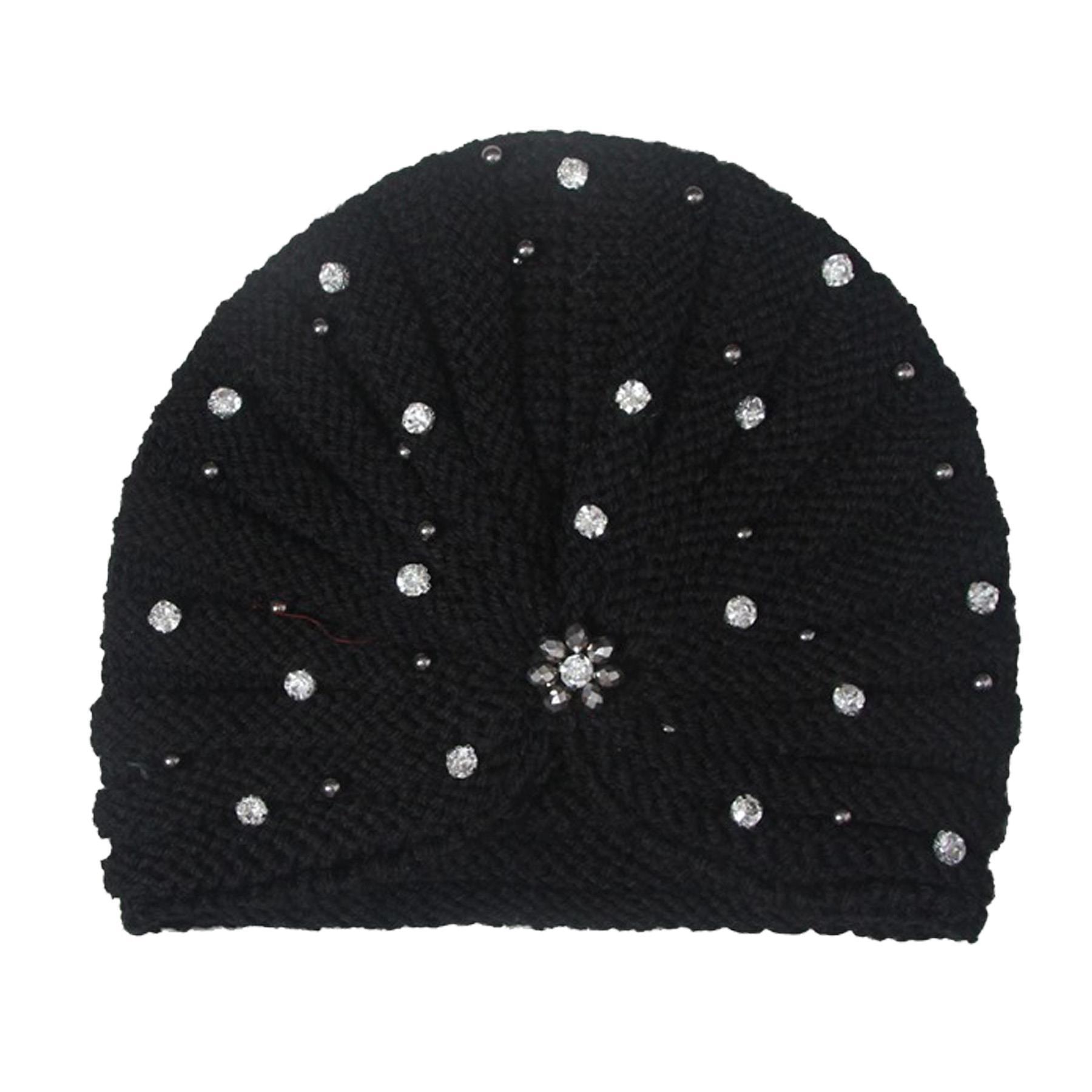 New-Women-s-Pleated-Knitted-Acrylic-Jewel-Detail-Headwear-Turban-Cap thumbnail 13