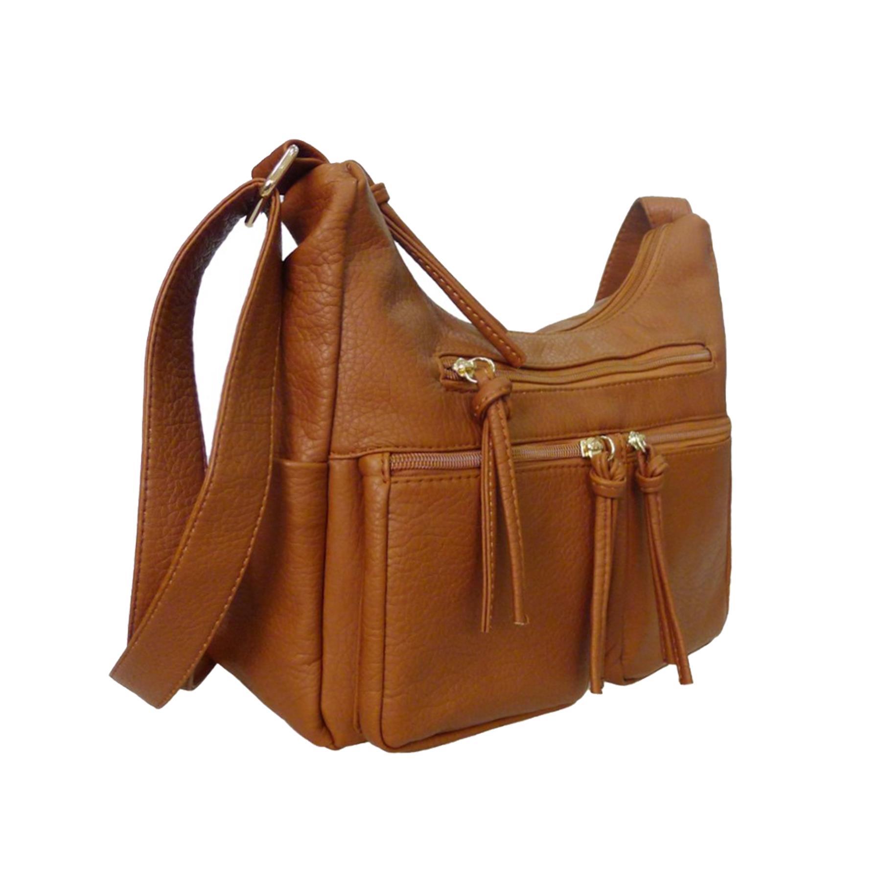 New-Unisex-Synthetic-Leather-Zip-Tassels-Multiple-Pockets-Cross-Body-Bag thumbnail 3