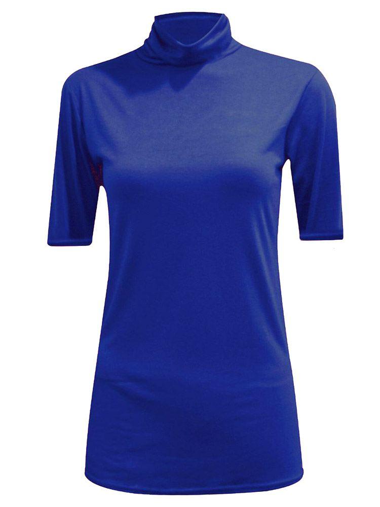 New-Women-s-Half-Sleeve-Plain-Polo-Roll-Neck-Top-Blouse-UK-8-26 thumbnail 14