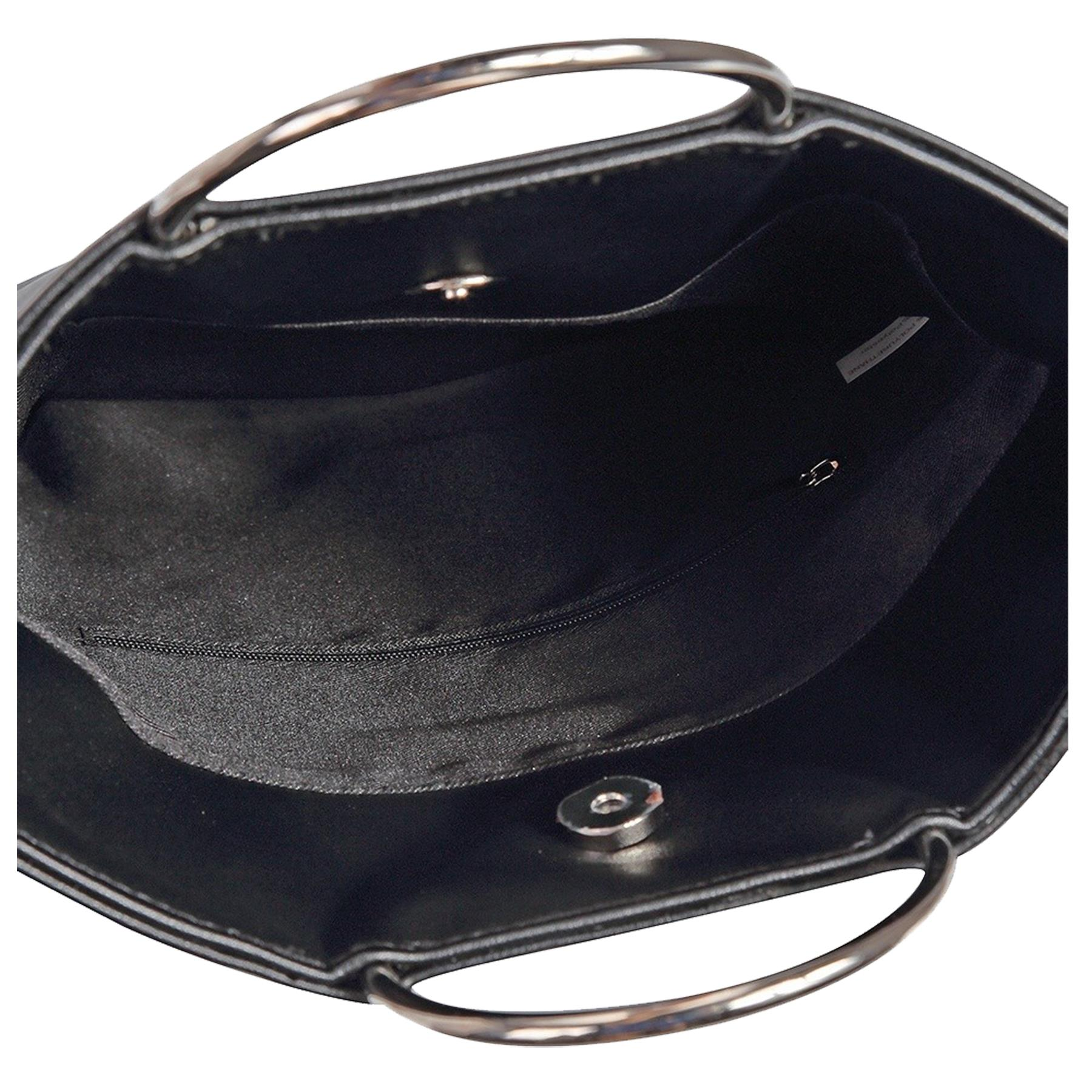 New-Women-s-Metallic-Ring-Top-Handles-Faux-Leather-Evening-Clutch-Bag thumbnail 4