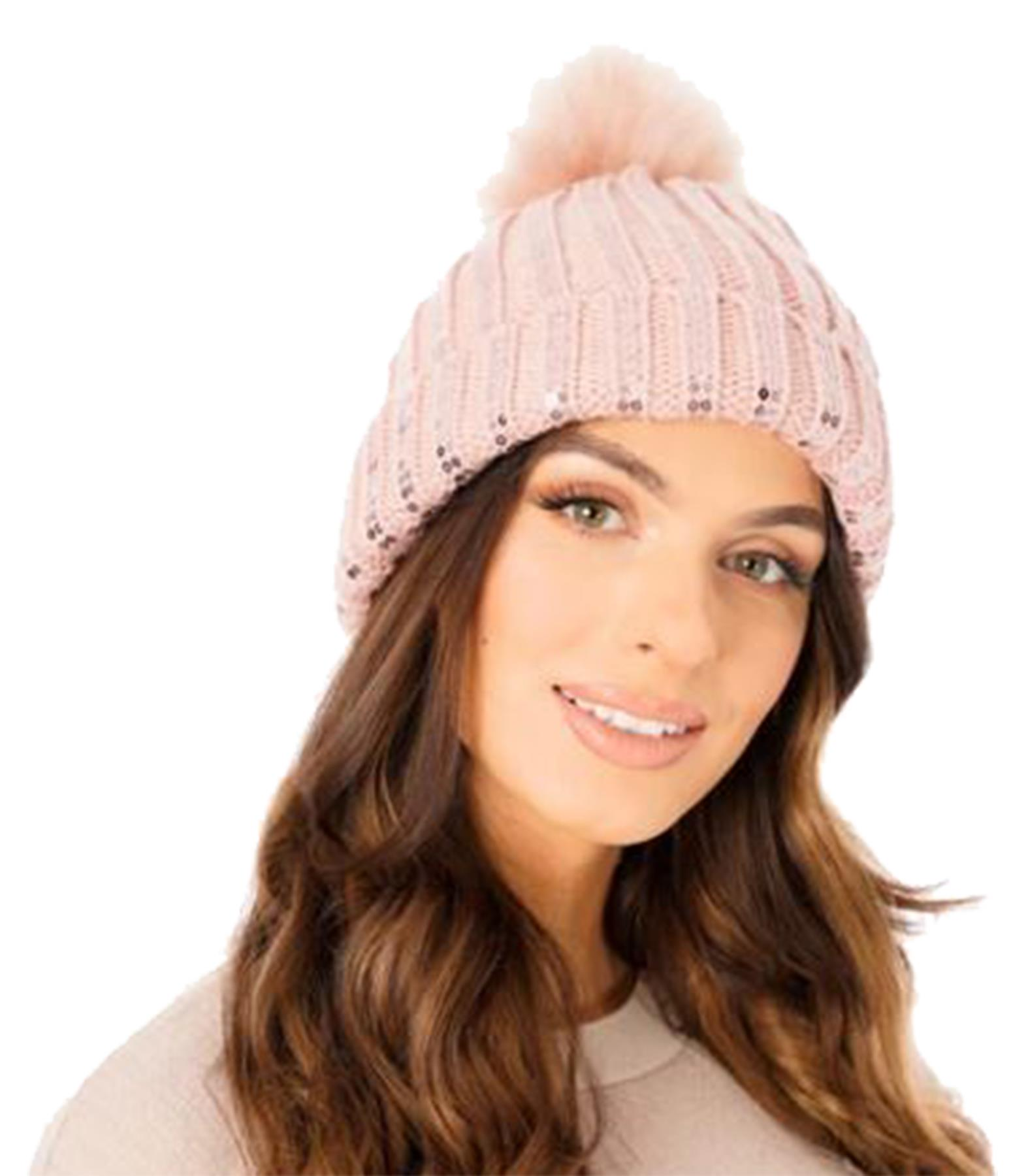 New-Ladies-Fleece-Lining-Sequins-Faux-Fur-Pom-Pom-Winter-Beanie-Hat thumbnail 12