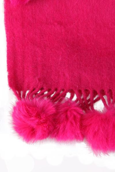 New-Women-s-Genuine-Fur-Pom-Pom-Detail-Tassels-Winter-Shawl-Cape thumbnail 11