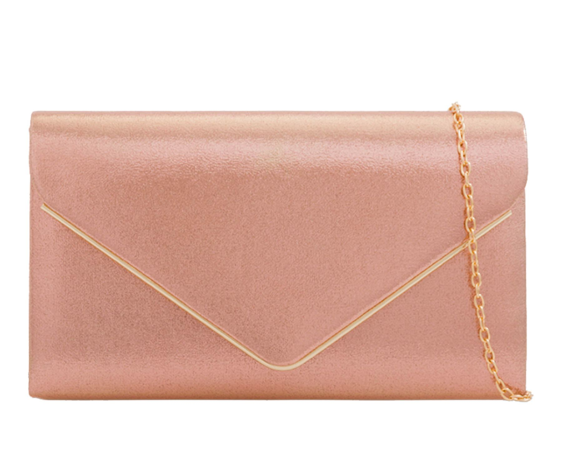 NEW-WOMENS-CLASSIC-ENVELOPE-FAUX-SUEDE-METAL-TRIM-CHAIN-STRAP-EVENING-CLUTCH-BAG